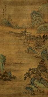 渡江图 立轴 设色绢本 by jiang pu