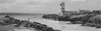 seascape with lighthouses and figure on the rocky coast by alfredo keil