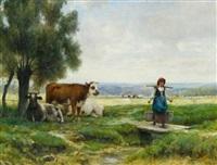 auf der weide. la jeune laitière by julien dupré