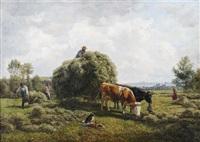 heuernte in neckarlandschaft mit blick auf nürtingen und die schwäbische alb by julius kornbeck