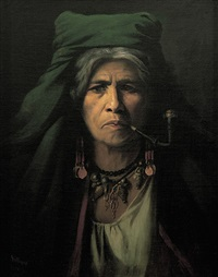 portrait einer pfeife rauchenden zigeunerin by adolf müllner