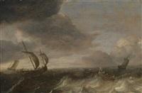 schiffe auf bewegter see unter gewitterhimmel by pieter mulier the elder