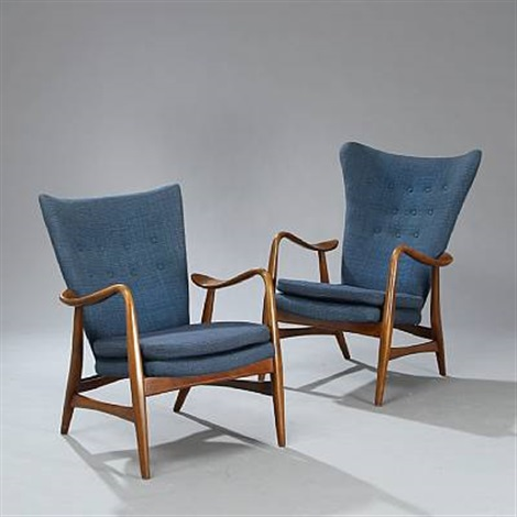 a highback and lowback easy chair (pair) by arne vodder & A highback and lowback easy chair pair by Arne Vodder on artnet