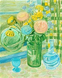 still life with flowers in a window by christine swane