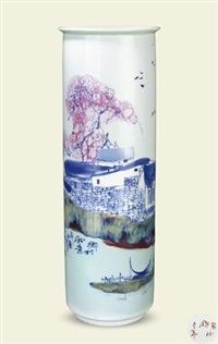 《乡村秋意》瓶 (the scenery of village in autumn vase) by yu donghua