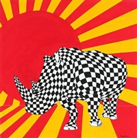 rhino rising sun by ronald hofman