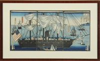 an american warship with numerous eastern and western civilians, as well other western ships(triptych, oban) by yoshiiku
