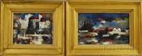 untitled (abstract industrial harbor views) (2 works) by pierre lemarchand