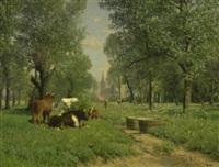 baumlandschaft mit ruhenden kühen by carl röder