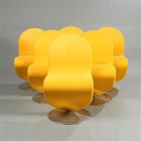 system 1-2-3 (set of 6 swivel chairs) by verner panton
