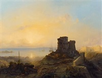 konstantinopel. blick von der osmanischen festung über die altstadt auf das meer by jacob jacobs