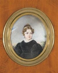 portrait de laure louise buthiau en robe noire et col en dentelle by etienne bouchardy