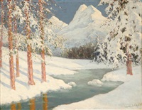winter alpine stream by georges victor laurent dantu