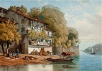old houses on isola bella, lago maggiore, northern italy by william james ferguson