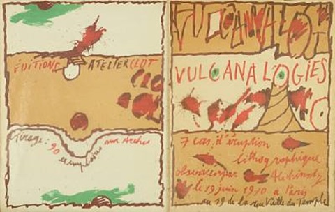 four compositions from the vulcana logies by pierre alechinsky