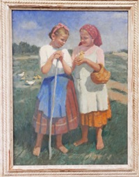 two girls with ducklings in a landscape by janos laszlo aldor