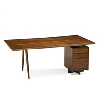 single pedestal turned leg desk by george nakashima