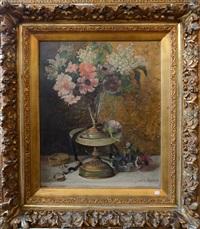 bouquet de fleurs sur un entablement by jules félix ragot