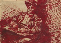 retrato de joven sentado by francisco gimeno arasa