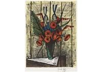 soucis et iris bleus by bernard buffet