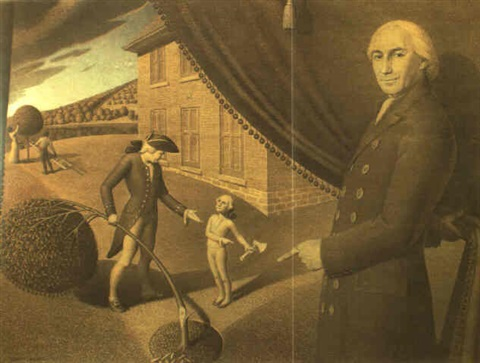 cartoon for parson weems fable by grant wood