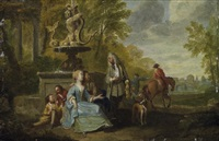 galante szene am springbrunnen im park by cornelis troost