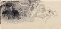 wasserwagen mit zwei pferden und mann mit aufgestütztem kopf (study) by otto von faber du faur