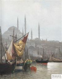 ansicht der santa sofia in istanbul. ansicht des hafens von istanbul (pair) by f. henry