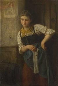 bauernmädchen mit strickzeug by ludwig vollmar