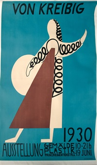 plakat zur von kreibig ausstellung 1930 in münchen by erwin von kreibig