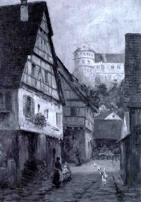 village scene by richard lipps