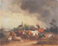 reiter mit einer viehherde by joseph wilhelm melchior