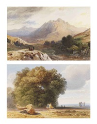 figures resting on a rocky outcrop in an extensive mountainous landscape (+ a wooded landscape with figures resting in the foreground; 2 works) by jean-antoine-simeon fort