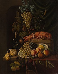 stilleben med frukter och hummer by jan jansz heem the younger