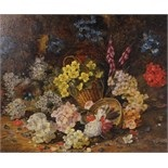 still life with flowers and bird's nest by horace mann livens