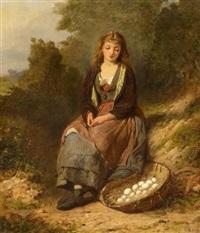 junges mädchen mit einem eierkorb am wegesrand by edwin thomas roberts