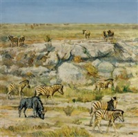 african plain with zebra and wildebeest by zakkie (zacharias) eloff
