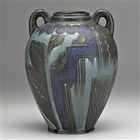 later mat/mat moderne vase with geometric designs by wilhelmine rehm