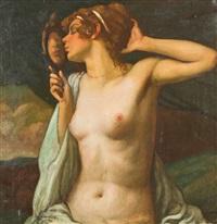 weiblicher halbakt mit spiegel by móric gábor