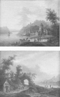 idealisierte flußlandschaft (main oder rhein?) mit dorfansicht, bauern und fischern by philipp frantz hoecker