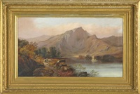 highland mountain landscape with shepherd and cattle on footpath, sailboat on lake by clarence henry roe