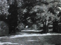 sommerliche dorfstraße mit heuwagen by walter alfred rosam