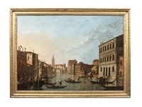 grand canal, looking south from the palazzo rezzonico to the right to the church of santa maria della carita by canaletto