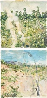 landscape (2 works) by liu wei