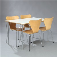 rectangular dining table and four chairs (model b436 and 3107) (set of 5) by piet hein, bruno mathsson and arne jacobsen