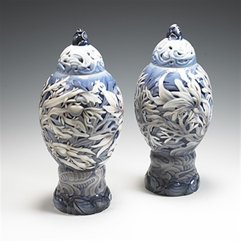lidded vases pair by effie hegermann lindencrone