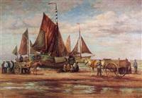 erwartung der fischerboote am holländischen strand by oscar becker