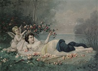 junges mädchen mit geflügeltem putto unter rosen (in the manner of hans zatzka) by austrian school-vienna (20)