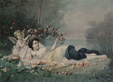 junges mädchen mit geflügeltem putto unter rosen in the manner of hans zatzka by austrian school vienna 20