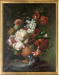summer flowers, including tulips, poppies, peonies and petunia's in a vase (+ roses, tulips, poppies, narcissi and other flowers in a vase; pair) by thomas webster